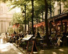 Paris Photography - Paris Cafe Photo - Tabac de la Sorbonne Print - Paris Bistro Photograph French Cafe Wall Art Parisian Home Decor Paris Street Cafe, Parisian Cafe, Paris Travel, France Travel, Paris Bistro, Paris France, Paris Paris, Villefranche Sur Mer, Travel