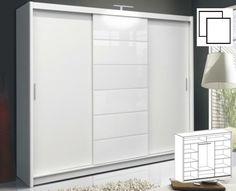 Šatní skříň Malibu white s posuvnými dveřmi v moderním provedení. Korpus z kvalitního LTD je v barvě bílé. Dveře jsou doplněny o dekorativní sklo v bílé barvě. Hrany u skříně jsou ohraničeny ABS páskou. Uspořádání polic viz perokresba.