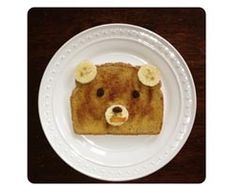"Teddy bear or brown bear toast. Would be cute to do with Corduroy, Brown Bear, or any number of bear themed books! Could make it french toast and powder it with powdered sugar for ""polar bear, polar bear""..."