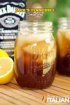 Jack's Tennessee Sweet Tea serves 1 2 ounces Jack Daniels Tennessee Whiskey 2 ounces fresh lemon juice 1 tablespoon honey 4 ounces Coke in a mason jar or tea glass, combine whiskey and lemon juice. Add honey and stir until honey is dissolved. Make sur Tea Cocktails, Party Drinks, Fun Drinks, Cocktail Recipes, Beverages, Mason Jar Cocktails, Alcohol Recipes, Tea Recipes, Recipies