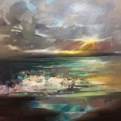 Scott Naismith's painting 'Breaking Light' is an original mixed media painting using oil, acrylic and spray paint on linen. Scott Naismith usually paints bright and vibrant abstract paintings of the Scottish Landscape, which is what this work of art features. Naismith has used a very lovely colour pallet for this painting involving many shades of blue, grey and green for the sea with shadows of yellow light peeping through the sky. This painting is sold unframed but the edges are painting…