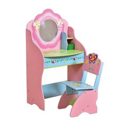Girls Dressing Table And Chair Vanity Mirror Fairy Fashion Bedroom Furniture