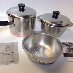 Great Vtg 50's Revere Ware 3 Qt Saucepan & Double Boiler Set!