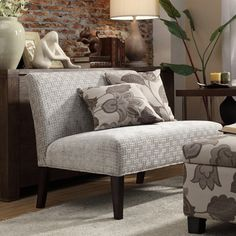 @Overstock.com - Kayla Grey Bracket Chain Armless Loveseat - $274.49 (possible love seat, or dining bench)