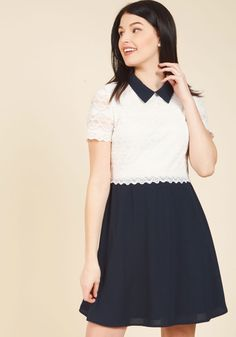 Your intention for flaunting this collared dress is to project a polished look, but its sharp design makes the guaranteed compliments an added bonus! Topped with a white lace bodice framed by sheer sleeves, and finished with a twirly woven skirt, this terrific twofer deems you an elegant embodiment.
