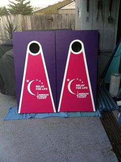Relay For Life Cornhole.  Could we do this for our campsite activity?