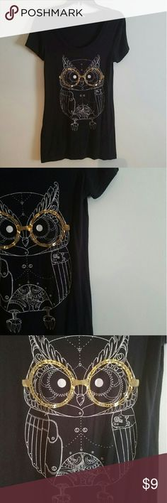 Cute Nerdy Owl Shirt Very comfortable, long black shirt. A little longer than your average t-shirt. Form fitting, silk-like material. Featuring a very cute nerdy owl. Shirt is like new, worn only once or twice. Tops Tees - Short Sleeve