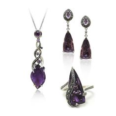 MARC Sterling Silver Purple Quartz Marcasite Necklace, Earrings & Ring