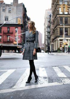 Classic Glen Plaid Pleated Suit Dress   MEMORANDUM   NYC Fashion & Lifestyle Blog for the Working Girl
