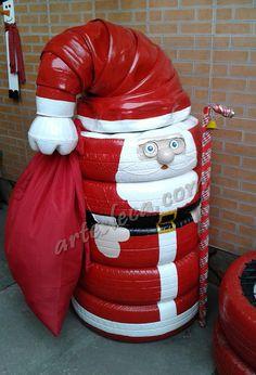 Blog Artes Leca - Decoração de Natal: Papai Noel todo feito de pneus e outras decorações #artesanato #reciclagem #papainoel #SantaClaus #Natal #Christmas #pneu #crafts #decoração #enfeites #diy #criatividade