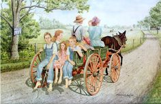 Art Prints by Dona & Jerry Locklair - Goin' Home Arte Country, Country Life, Country Living, Little Country Girls, Farm Art, Cowboy Art, Country Scenes, Western Art, Pictures To Paint