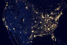 Villes et mégapoles américaines, par le satellite Suomi NPP (2012)