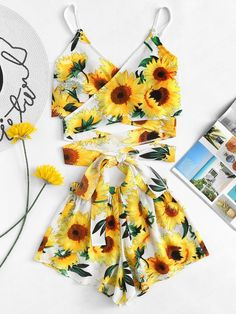 Sunflower Print Cross Knot Cami Top With Shorts -SheIn(Sheinside) Really Cute Outfits, Cute Lazy Outfits, Teenage Girl Outfits, Crop Top Outfits, Girls Fashion Clothes, Summer Fashion Outfits, Girly Outfits, Cute Fashion, Outfits For Teens