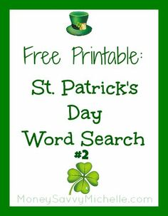 Another St Patrick's Day Word Search Free Printable! http://www.moneysavvymichelle.com/st-patricks-day-word-search-2/ #StPatricksDay #printable