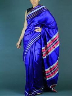Blue Tussar Dupion Silk saree