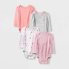 4pk Baby Girl Bodysuit 6-9 Mo Long Sleeve Pink Flowers Cloud Island NWT!!!