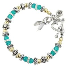 Beautiful bracelet. I've been looking for a bracelet to wear in honor of my friend who's dying from Ovarian Cancer and I think this will work perfectly.
