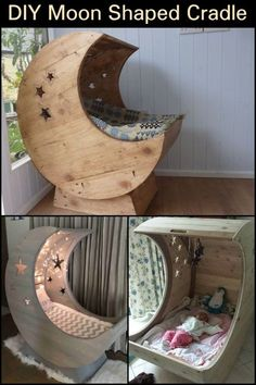 DIY Moon Shaped Cradle This cradle has a great design as it makes picking up or laying down your child easier. DIY Moon Shaped Cradle This cradle has a great design as it makes picking up or laying down your child easier. Baby Bedroom, Bedroom Decor, Childs Bedroom, Diy Bebe, Diy Casa, Baby Furniture, Wood Furniture, Bedroom Furniture, Woodworking Tips