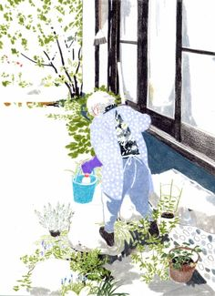 Yuriko Itani (Illustrator danny) 2010 my grandmother People Illustration, Plant Illustration, Illustration Sketches, Illustrations And Posters, Character Illustration, Graphic Design Illustration, Composition Art, Beautiful Sketches, Artist Sketchbook
