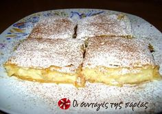Great recipe for The most tasty bougatsa. A recipe for bougatsa (Greek breakfast pastry with either sweet or savoury filling) that is extremely easy to make and very tasty! Recipe by nutellitsa Greek Sweets, Greek Desserts, Greek Recipes, Desert Recipes, Custard Desserts, Greek Pastries, Breakfast Pastries, Bougatsa Recipe, Sweets Recipes
