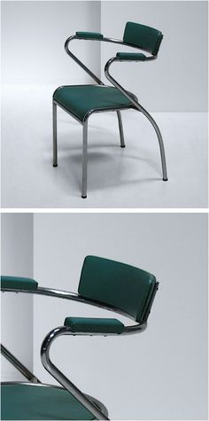 Italian Side Chair  Side chair produced in Italy c1950′s. Chromed tubular frame with original turquoise vinyl.