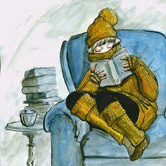 Frío en el ambiente, calor en la lectura (ilustración de Kelsi Jo Silva  )