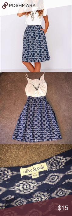 Olive & Oak Ikat Midi Skirt Very flattering knee length full midi skirt. Only worn twice. Has pockets! Olive & Oak Skirts Midi