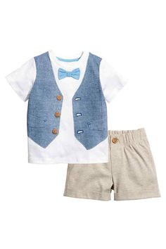T-shirt and shorts - White/Beige - Kids   H&M 1
