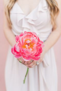 coral charm peony bouquet - photo by Valorie Darling Photography http://ruffledblog.com/floral-filled-carondelet-house-wedding