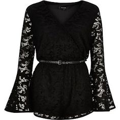 Black Lace 70's Bell Sleeve Playsuit from River Island R1000,00