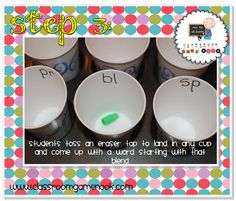 Blend Toss (with 12 dixie cups, cupcake pan, and eraser tips) Word Study, Word Work, People Who Help Us, Classroom Language, Reading Activities, Writing Ideas, Phonics, Homeschooling, Teaching Ideas