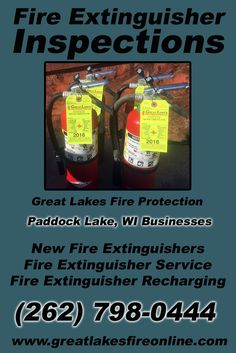 Fire Extinguisher Inspections Paddock Lake, WI (262) 798-0444 Call the Experts at Great Lakes Fire Protection.. We are the complete source for Fire Extinguisher Service for Local Wisconsin Businesses We would love to hear from you.. Call us Today!