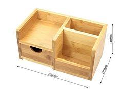 Organizador de Papelería para Escritorio Bambú 4 Compartimentos, (Organizadores y Dispensadores de Escritorio de Madera)