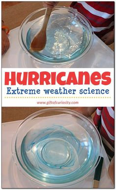 Make a hurricane in your kitchen! This extreme weather science activity will help kids learn about hurricanes, including how they form and how they move! || Gift of Curiosity - http://www.giftofcuriosity.com/make-a-hurricane-extreme-weather-science/