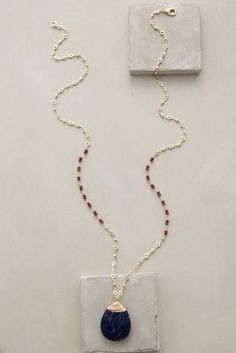 Anthropologie Wrapped Lapis Pendant Necklace