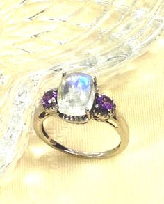 Rainbow Moonstone & Amethyst Ring or Engagement Ring Handmade by NorthCoastCottage Jewelry Design & Vintage Treasures on Etsy.com, $399.00