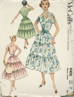 "An original ca. 1953 McCall's Pattern 9406.  The dress has a fitted bodice with V neckline and front botton closing. The cap sleeves are cut-in-one with the bodice and have attached cuffs; self or purchased belt; gathers at waistline seam; three gathered tiers form a full skirt in below knee length; side 12"" zipper closing."