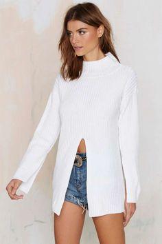 Nasty Gal One-Slit Wonder Ribbed Turtleneck Sweater