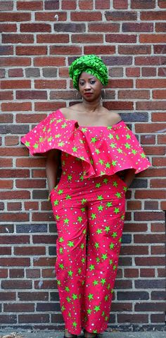 Ankara red and green stars jumpsuit/romper with pockets. his red and green jumpsuit is handmade with a stunning African stars fabric. It has a ruffled/flare cape that comes over the top portion of the jumpsuit. It can be worn off the shoulders.   Ankara | Dutch wax | Kente | Kitenge | Dashiki | African print bomber jacket | African fashion | Ankara bomber jacket | African prints | Nigerian style | Ghanaian fashion | Senegal fashion | Kenya fashion | Nigerian fashion | Ankara crop top…