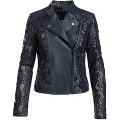 Neiman Marcus Floral-Crochet Leather Moto Jacket ($475) ❤ liked on Polyvore featuring outerwear, jackets, genuine leather jackets, moto jacket, real leather jackets, leather motorcycle jacket and floral moto jacket