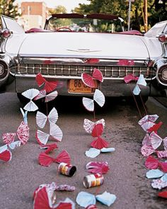 1959 Cadillac Convertible with Paper fans & Soup Cans - Wedding Getaway Cars - Martha Stewart Weddings