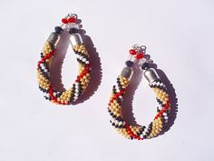 Bead crochet earrings drop shape with Burberry by mysweetcrochet, $59.00