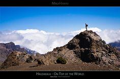 Haleakala - On Top of the World - Maui Hawaii Posters Series - Hiker enjoying a breathtaking view of the Haleakala Crater - Haleakala Volcano National Park - Maui, Hawaii.