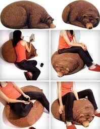 Bear Bean Bags, if I ever have a room with a deer or moose head in it, this will  be there too!