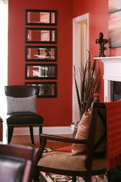 coral red and white living room with black details