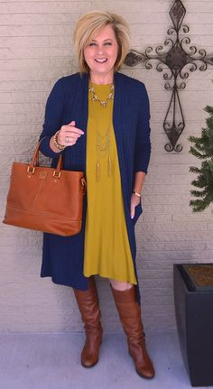 Long duster cardigan with a dress navy & gold chartreuse dress and boot Fall Fashion Trends, 50 Fashion, Women's Fashion Dresses, Plus Size Fashion, Fall Trends, Woman Fashion, Woman Dresses, Petite Fashion, Trendy Fashion