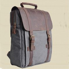 Genuine Cow leather bag canvas bag BACKPACK Leather Briefcase / leather Messenger bag / 14' 15' MacBook Laptop bag (1820-Grey)