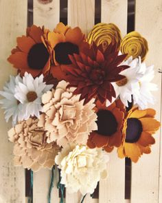 Four felt flower centerpiece by handmadecolectibles on Etsy, $28.00