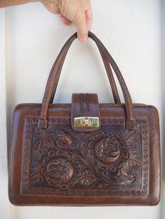 Vintage Tooled Leather Handbag Purse By Shastavintage On Etsy 40 00
