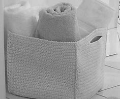 """crochet large square basket (12"""") using two strands of ww yarn together"""